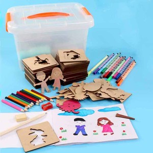 Image 3 - Preskool Baby Toy For Children DIY Painting Template Fun Graffiti Coloring Game Early Education Toy