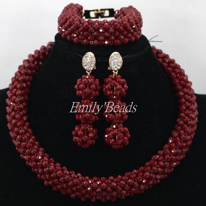 Bourgogne cristal femmes colliers ensemble Costume bijoux nigérian mariage perles africaines ensemble de bijoux de mariée livraison gratuite AIJ953