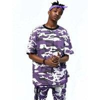 2017 Latest TOP KANYE WEST Camouflage Camo Oversized Men T Shirt Hip Hop Justin Bieber Pink