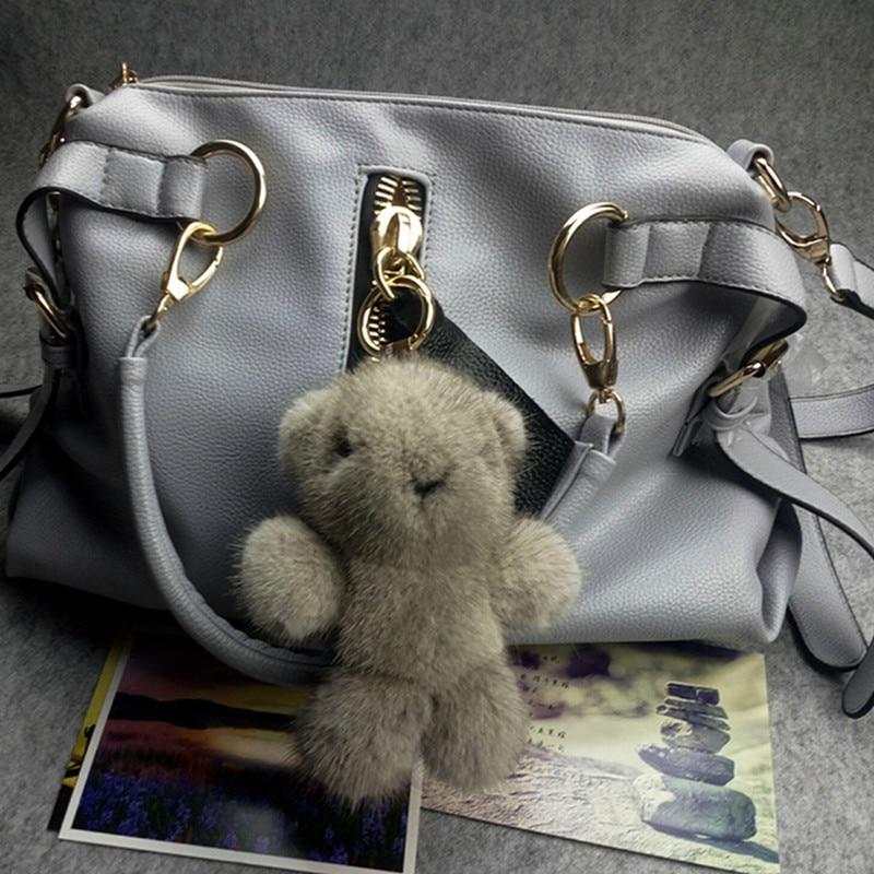 high quality trinket fur pompom keychain bunny keychains on bag fox fur cut bear Keychain fur pom pom charms for bags anime real mink fur keychain fashion soft fur bunny keychain bag pom pom