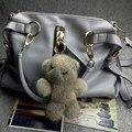 high quality trinket fur pompom keychain bunny keychains on bag fox fur cut bear Keychain fur pom pom charms for bags  anime