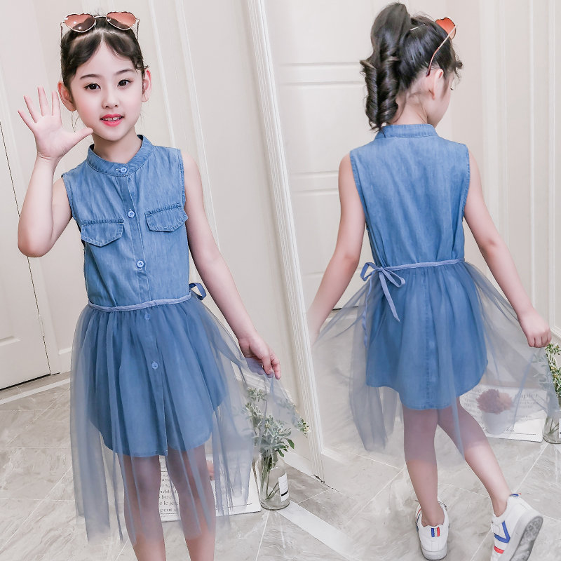 Big Girl Denim Jeans Prom Blouse Dresses For Girl Cocktail ...
