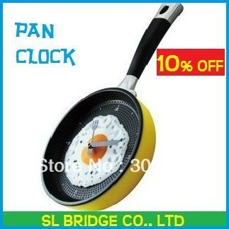 Free shipping Creative Omelette Fry Pan Kitchen Fried Egg Design Wall Clock Decor