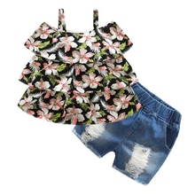 Baby Girls Clothes Set Sleeveless Floral Strap T-shirt Tops + Denim Shorts Suits Outfits Sets Summer Toddler Girl Kids Clothes стоимость