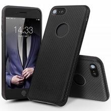 QIALINO para iPhone 7 de 4.7 pulgadas Casos Duros Agujeros de Malla Recubierto De Cuero de la PC de Nuevo Caso de Teléfono genuino para el iphone 7 4.7