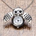 Симпатичные Серебряный Vintage Сова Ожерелье Кварцевые Карманные Часы Ожерелье Мужчины Женщины Подарок P26