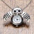 Colar de Pingente de Prata bonito Da Coruja de Noite Do Vintage Quartzo Relógio de Bolso Colar Das Mulheres Dos Homens Presente P26