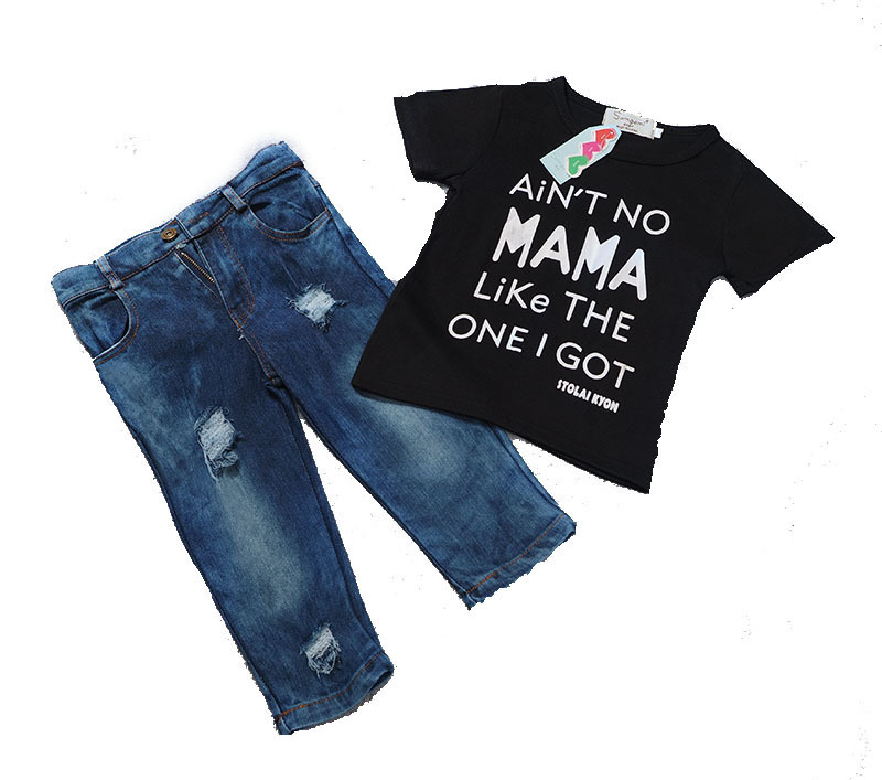 tcYct Newborn Toddler Infant Clothing,Cool Baby Boy Clothes outfits,Baby kids T-shirt Tshirt +Ripped Jeans Denim Pants Set 2pcs newborn toddler infant kids baby boy summer clothes set short sleeve t shirt tops long pants outfits set