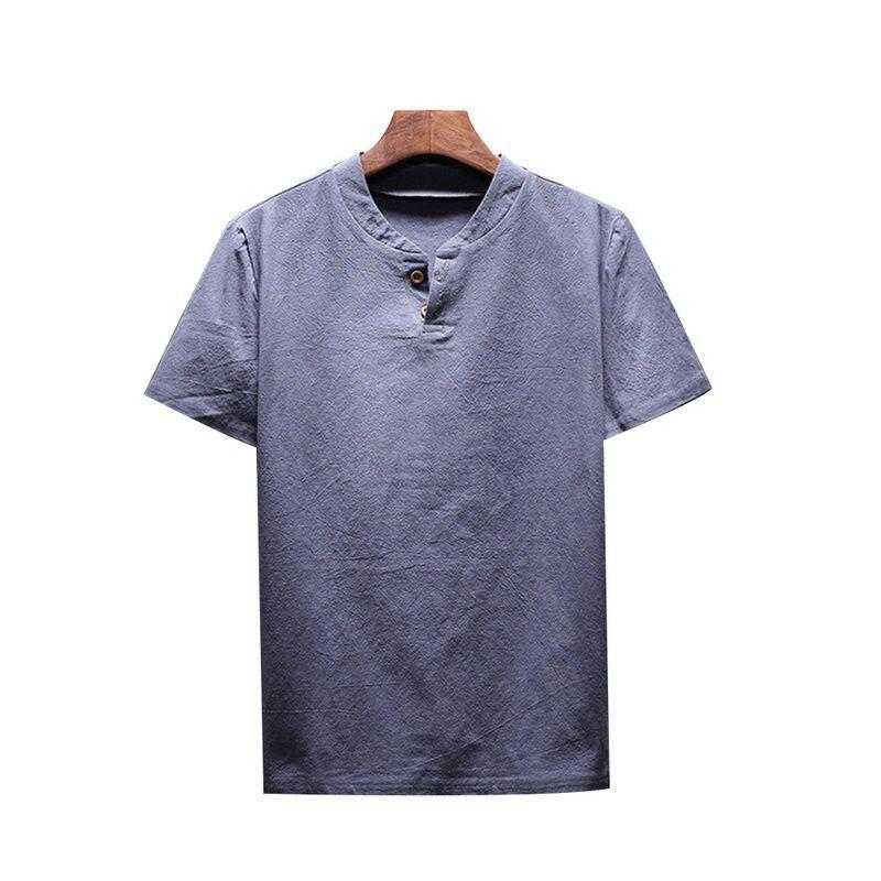 Laamei New Summer Men Shirt Linen Cotton Man Clothes 2018 Solid Flax Men Shirt Slim Fit Collarless Short Shirts Plus Size 5XL