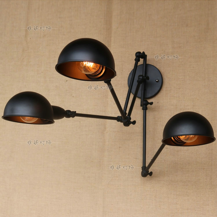 Cafe restaurant loft iron wall light retro study bedside black 3 heads hone bar decorati ...