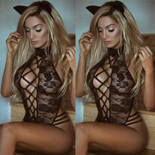 US Ladies Strappy Plunge V Neck Full Lace Bodysuit Womens Bodycon Tops Lingerie