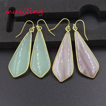 musiling Long Drop Dangle Earrings Natural Stone Charms Golden Plated Jewelry For Women Wholesale