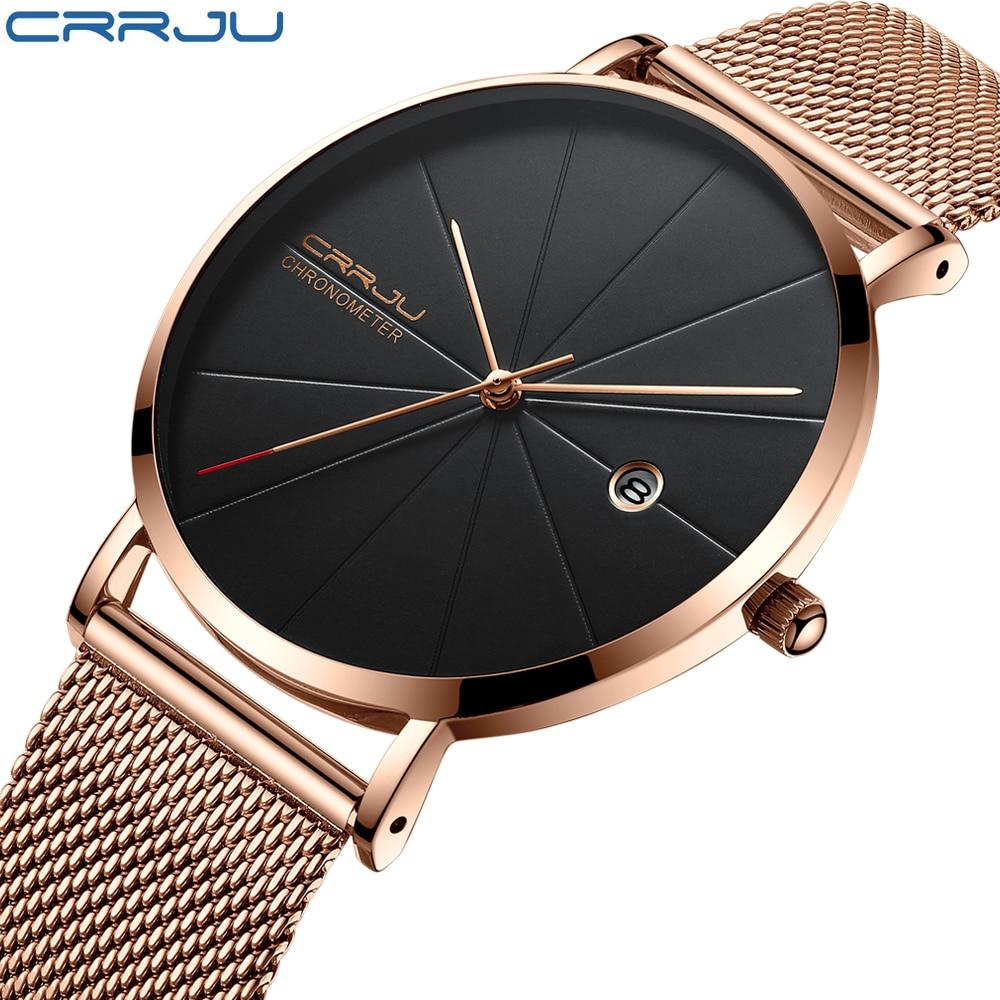 Fashion Simple Stylish Luxury CRRJU brand Watches Men Stainless Steel Mesh Strap Thin Dial Clock Man Casual Quartz-watch