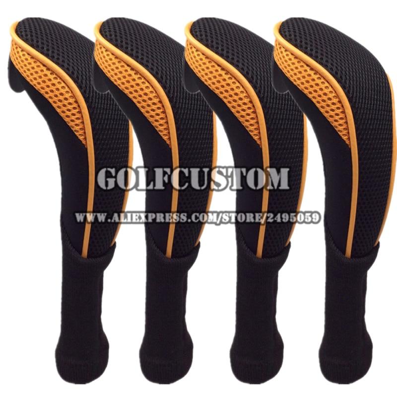 4 pcs/set  Golf Headcovers whit  Interchangeble No. Tag 3 4 5 7 X for Golf Hybrid Club /  orange Long Necak  UT