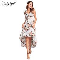 Ruiyige Women Chiffon Floral Print Dress Lace Hollow Out Sexy Dress Split Backless Summer Party Boho