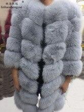Linhaoshengyue 90CM long real fur fox coat with sleeves
