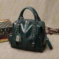 Kajie Fashion Boston Genuine Leather Luxury Handbags Women Messenger Bags Designer Shoulder Bag Female Tote Bolsos Mujer