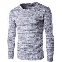 Новый 2018 мужской вязаный пуловер свитер Повседневный длинный рукав с круглым вырезом свитер шерсть тонкий плюс размер серый мужской пулове...