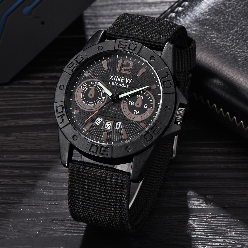 En gros pas cher montres hommes Nylon bande Date Quartz Montre-bracelet hommes sport militaire cadeaux horloge Erkek Barato Saat Montre Homme