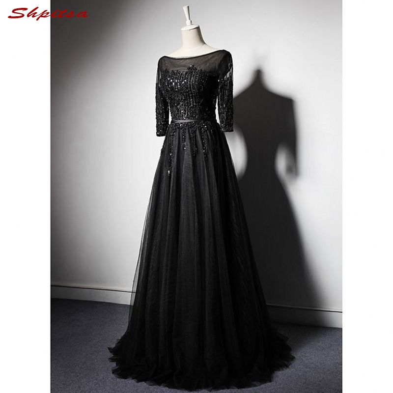 Black Long Sleeve Mother of the Bride Dresses for Weddings A Line Beaded Gowns Formal Godmother Groom Long Dresses