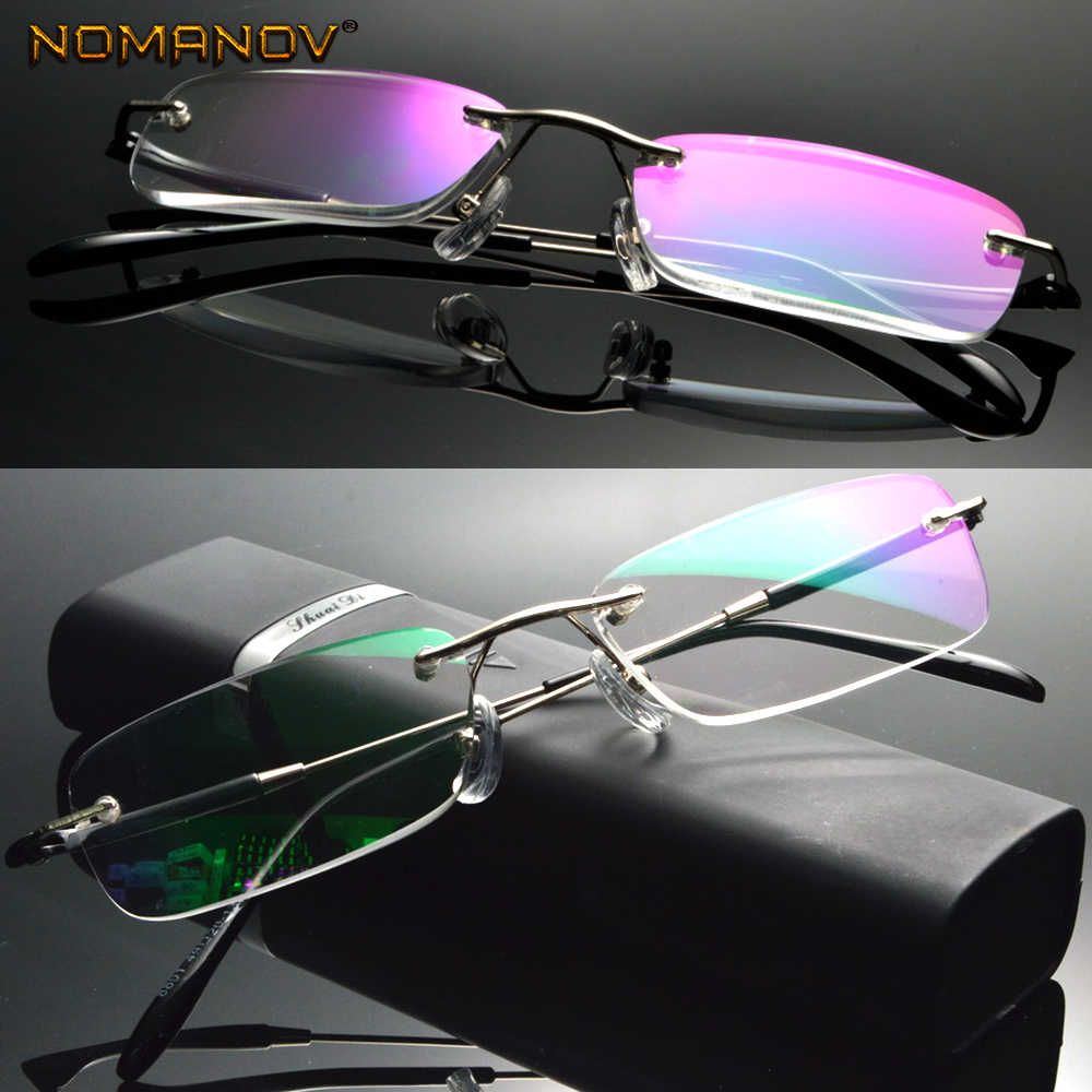 Anti  Ray Coated Lens Business  Rimless Frameless Ultra-light Portable Reading Glasses + Box +0.75 +1 +1.5 +1.75 2 To 4