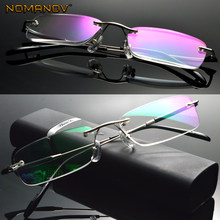 9cdfeab89 Anti Blue Ray Revestido Lente Elite Empresarial Sem Aro Sem Moldura  Ultra-leve Óculos de Leitura Portátil + Caixa + 0.75 + 1 + 1.