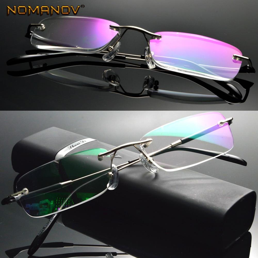 Anti  Ray Coated Lens Business  Rimless Frameless Ultra-light Portable Reading Glasses + Box +0.75 +1 +1.5 +1.75 2 To 4