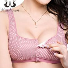 Xiushiren Plus Size Comfort Cotton Bras for Women Wire Free Front Button Bra Solid Lingerie Leisure Bh 34-44 A B C Cup