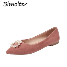 Bimolter Casual Shoes Genuine Leather Women Flats Shoes Handmade Bead Round Toe slip on Flat Sheep Suede Female Loafers NB022 czrbt sheep suede leather women flats spring crystal pearl dragonfly loafers women concise round toe shallow mouth flat shoes