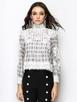 Women Fall New White High Neck Plaid Panel Long Sleeve Blouse Fashion Lace Patchwork Shirts