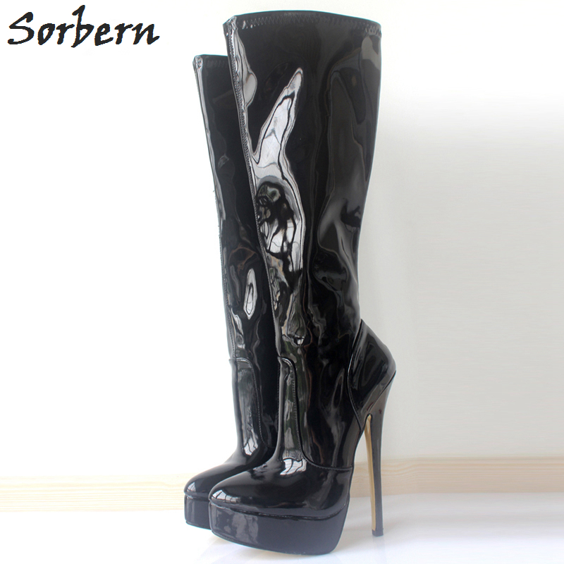 Sorbern Mid-Calf Women Boots Zipper Plus Size 18CM Spike Heels Custom Made Color Unisex Dance Boots Real Image Ladies Boot double buckle cross straps mid calf boots