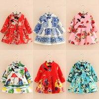 Girls Dresses Kids Winter Velvet Dress Baby Girl Chinese New Year Clothes Thickened Christmas Flower Dresses