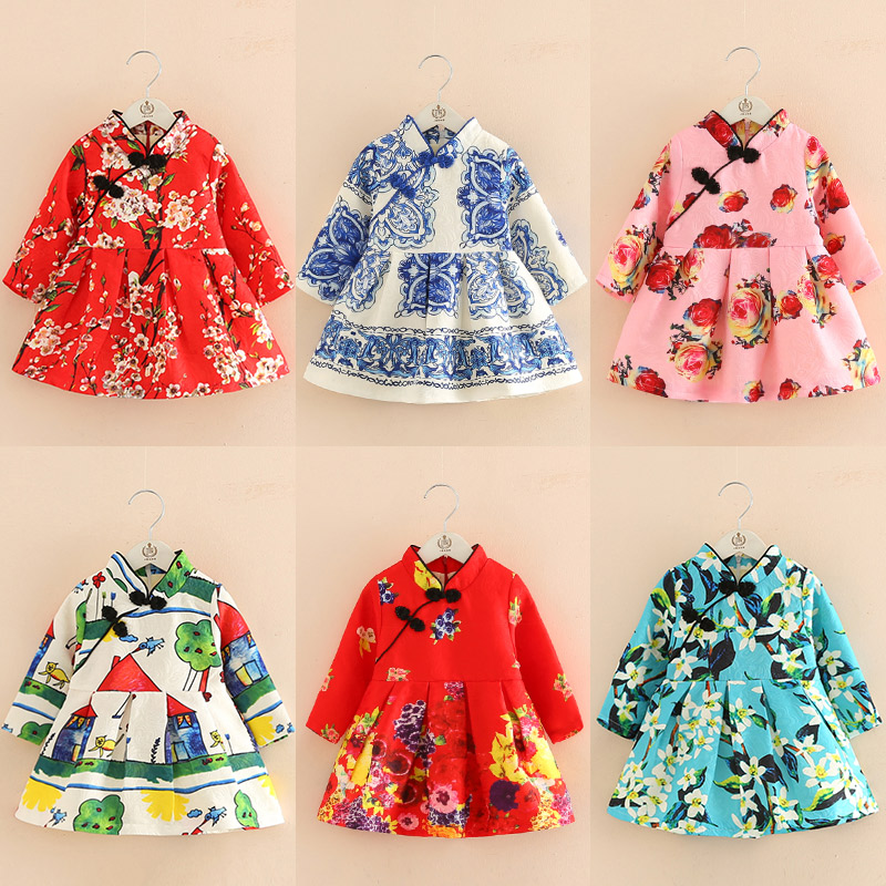 Girls Dresses Kids Winter Velvet Dress Baby Girl Chinese New Year Clothes Thickened Christmas Flower Dresses Traditional Garment