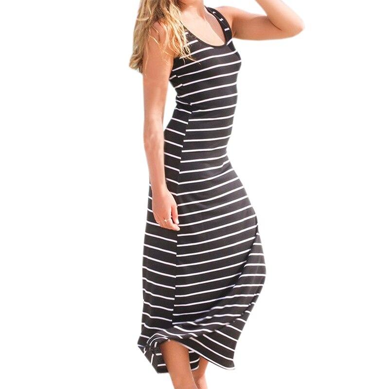 Sexy Women Plus Size Maxi Long Dress Summer Style Ladies Beach Vest Dress Striped Boho Long Sleeveless Casual Dress M0095 1