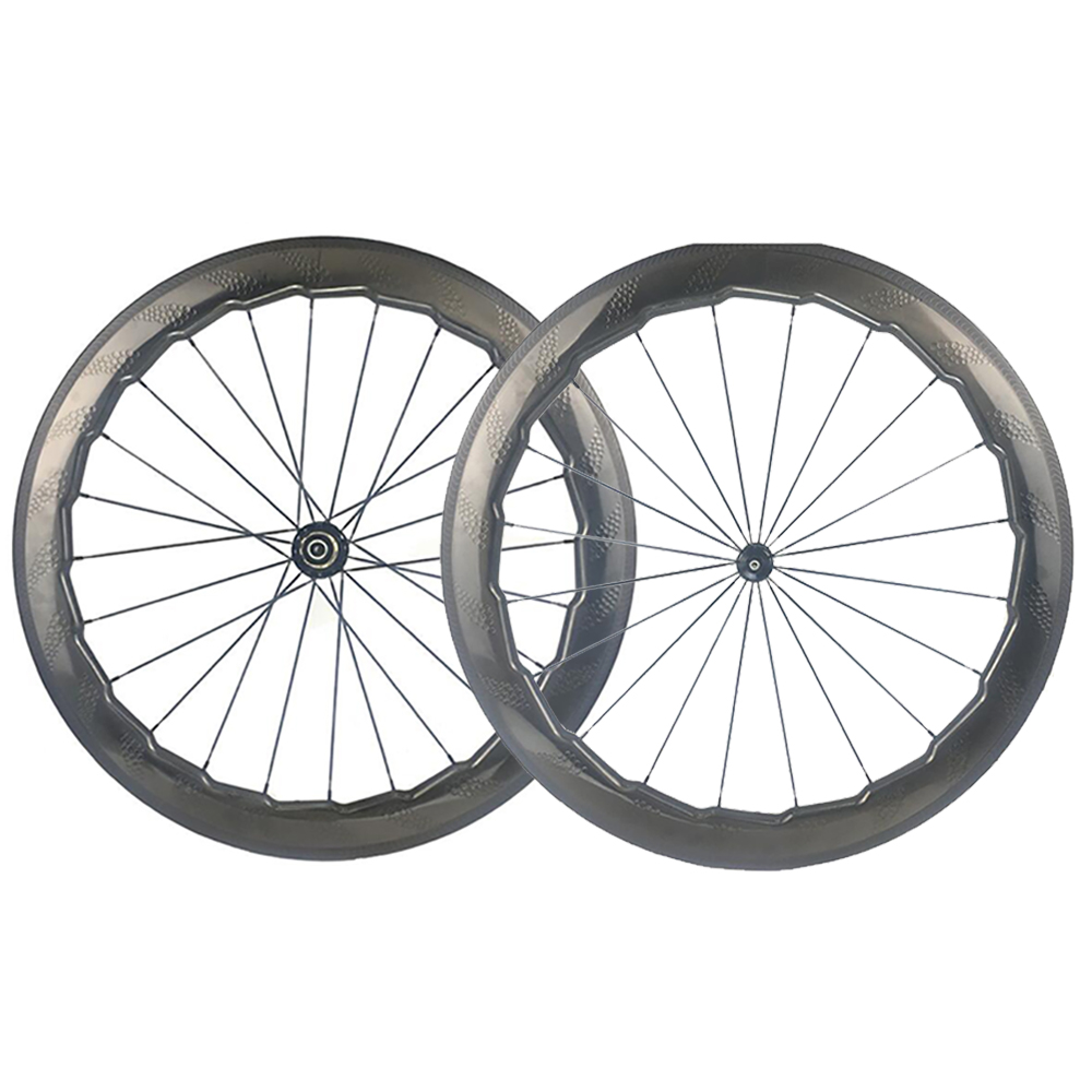 NSW 454 Dimple Carbon Wheel 58mm Road Bike Wheelset Road Hub Wind Brake Stable Cycling Clincher/Tubular Wheels/Rims 700C 700c dimple surface carbon wheelset light weight 58mm depth clincher road bike wheels with bitex 306f 306 r hubs