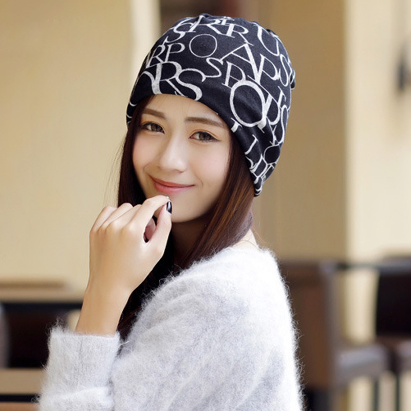1PCS Unisex Hat Beanie Female Skullies Beanies Women Scarf Turban Skully Hat Cap Men Letter Printed Hip Hop Hats Gorros 3 Use unisex 1d one direction letter hats gorros bonnets winter cap skullies beanie female hihop knitted hat toucas with pompom ball