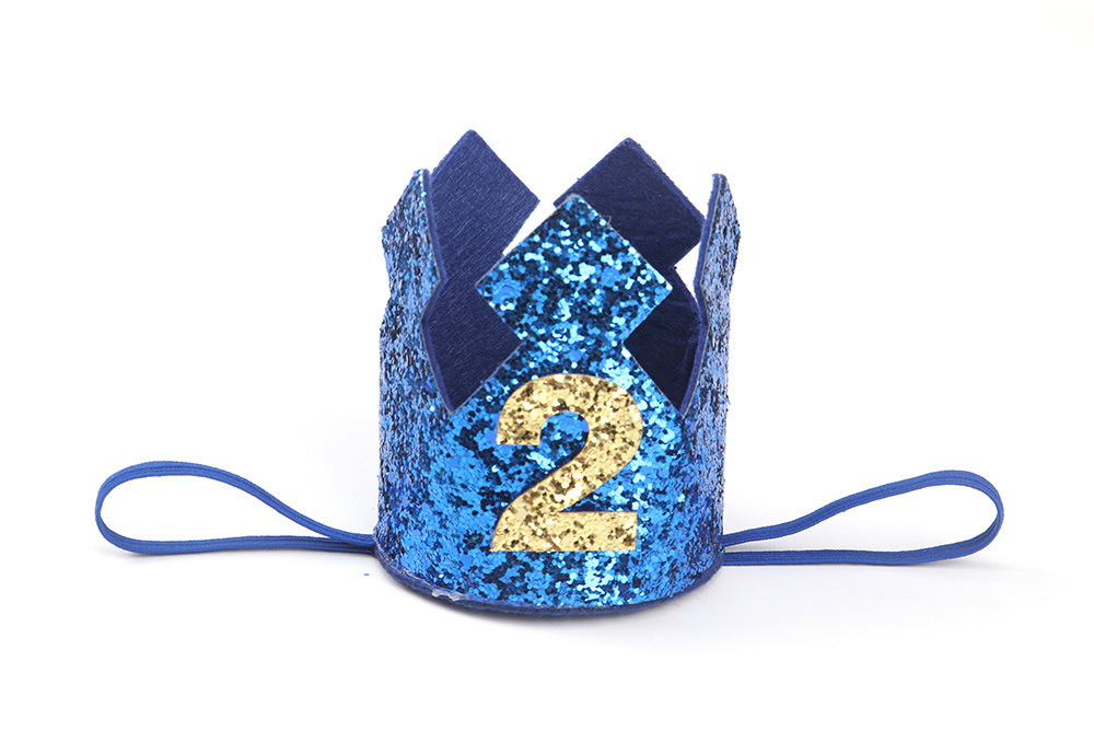 Happy First Birthday Party Hats Decor Cap One Birthday Headbands Glitter Princess Crown Bebe Kids Hair Accessories Photo props