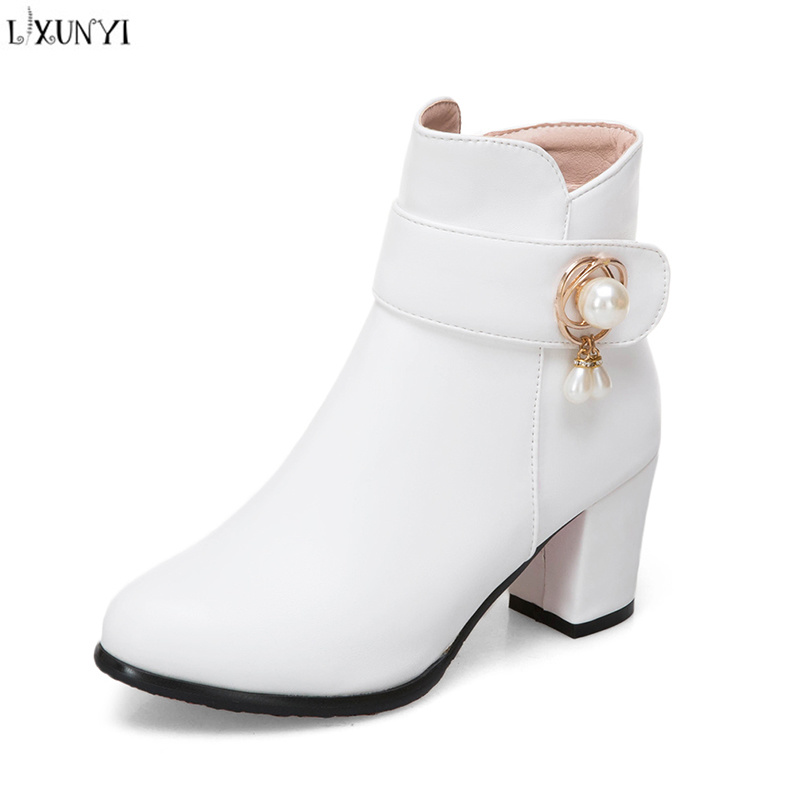 LXUNYI Plus Size 34-43 Women Ankle Boots Square High Heel Boots for Woman Fashion Zipper Black Autumn Winter Womens Boots Shoes women boots plus size 35 43 genuine leather autumn winter ankle boots black wine red shoes woman brand fashion motorcycle boot