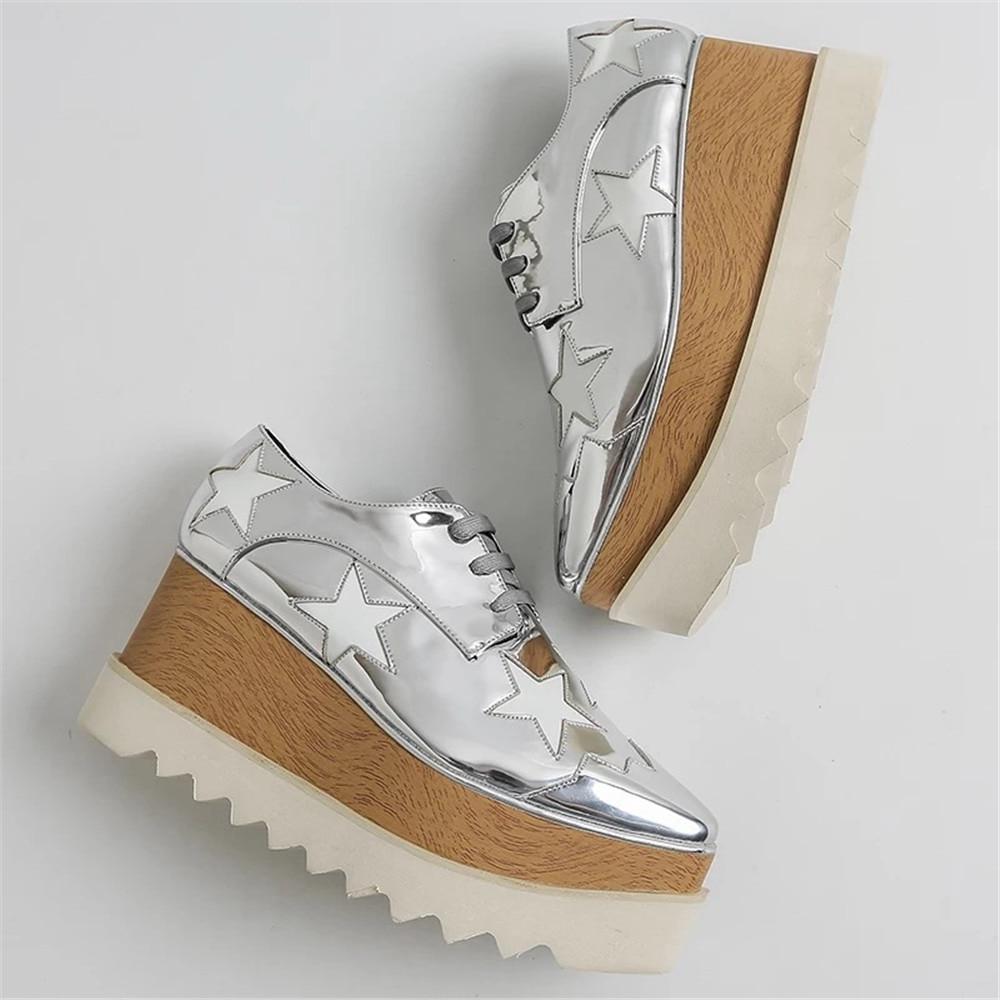 Stkehidba zapatos casuales de plataforma de cuero genuino para mujer zapatos planos de mujer de moda Zapatos de suela de madera para mujer calzado de papá 33  41-in Zapatos planos de mujer from zapatos    3