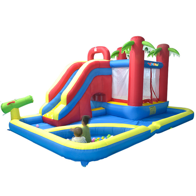 US $658 8 39% OFF|YARD Inflatable Games Castle Water Park With Pool Slide  For Children 4 7*3 1*2 3 m Giant Inflatable Water Games Bouncer House ใน