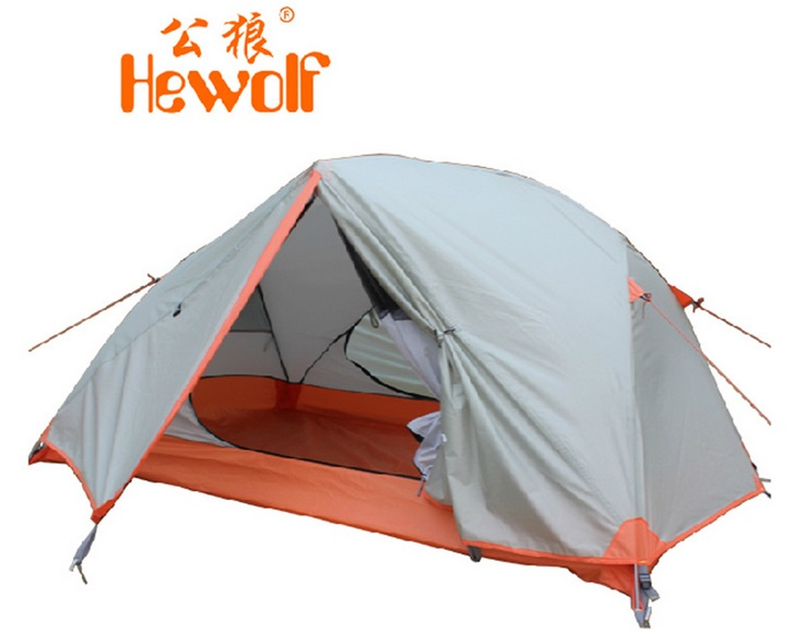 Hewolf aluminum pole double layer outdoor camping equipment waterproof high mountain hiking tent in good quality for 2persons hewolf 2persons 4seasons double layer anti big rain wind outdoor mountains camping tent couple hiking tent in good quality