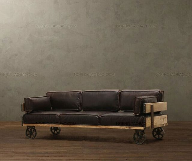 Retro Minimalist Wood, Wrought Iron Sofa Chair Recliner Creative French  Country Style Upholstered Bench With