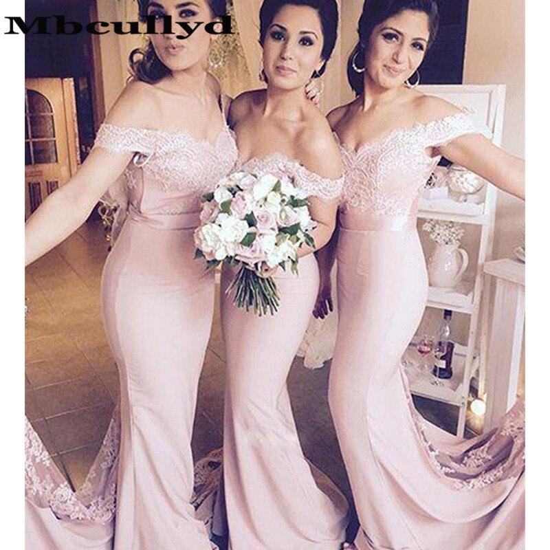 Mbcully 2019 Pink Mermaid Long Bridesmaid Dresses New Elegant Off Shoulder Lace Applique Wedding Guest Robe Demoiselle D'honneur