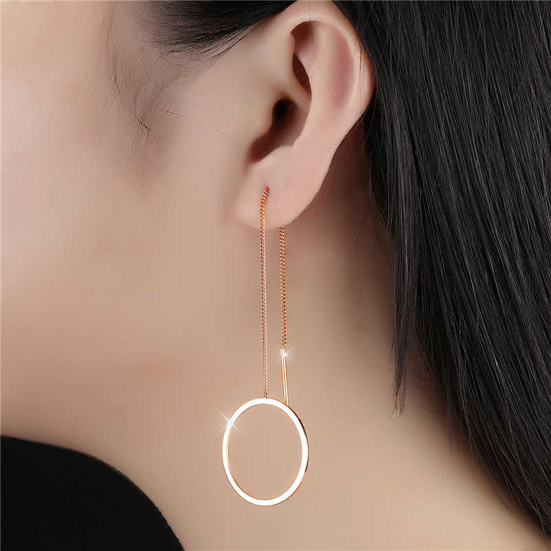 NEWBUY 2018 New Fashion Rose Gold-color Round Drop Earrings For Women Hot Sale Stainless Steel Luxury Female Wedding Jewelry