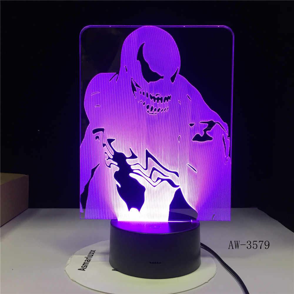 Agentes de veneno Maravilha Figma Modelo 3D LED Ilusão Fada Luz Noturna Lâmpada de Mesa Brinquedos Avengers Figura Veneno Do Corpo Móvel AW-3579