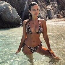 Купить с кэшбэком Sexy Swimwear Women Swimsuit Leopard Bikini Set Push Up Bathing Suit Brazilian Female Beach Wear Biquini bandage M71