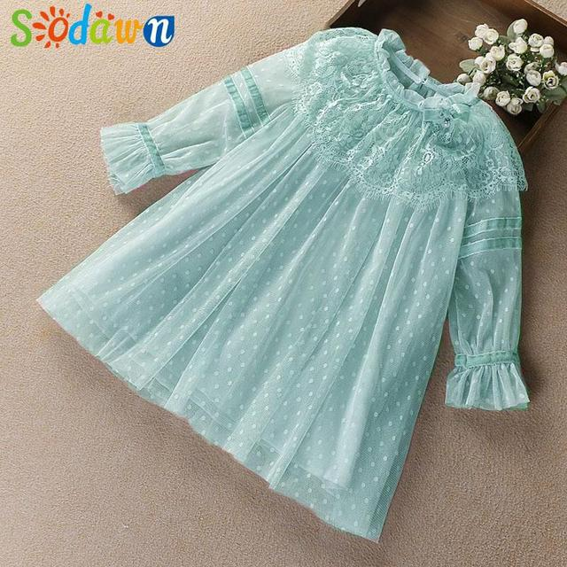e13275ed4f44 Sodawn New Spring Autumn Mesh Lace Princess Dress Girl Clothes Baby Girls  Dress 2018 Children Clothing