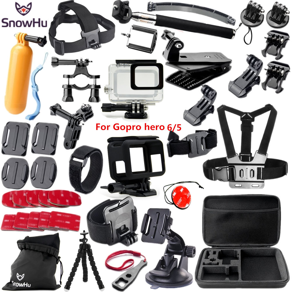 SnowHu For Gopro accessories set For Gopro hero 6 hero 5 waterproof protective case chest for go pro hero 6 hero 5 tripod GS41 go pro hero support kit accessories head chest wrist bag bike monopod for gopro mounts go pro hero 4 3 2