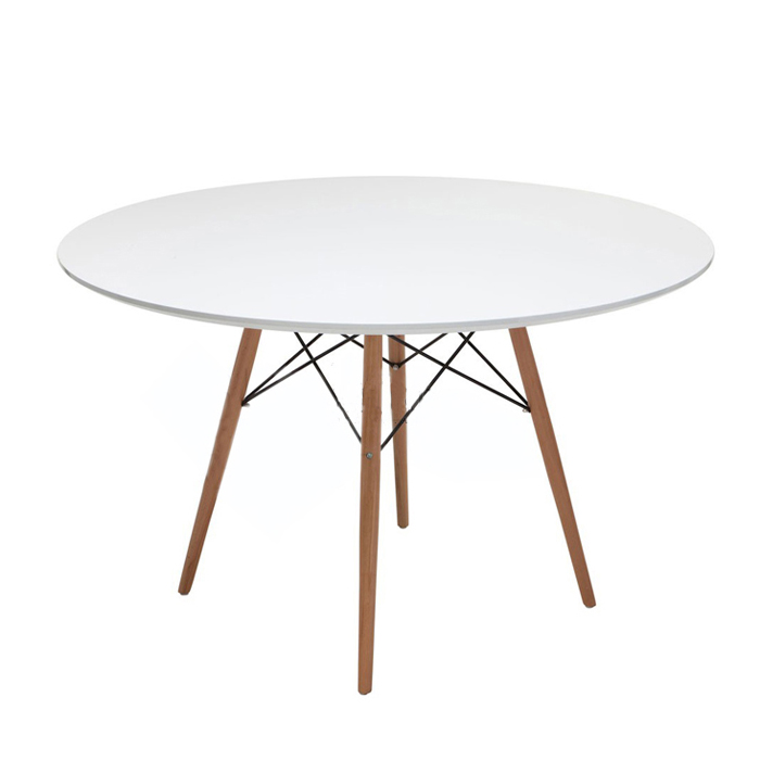 Mid Century Modern Round Table Dining Table Wood Leg and top, White/Natural Finish Dining Room Furniture Dining Table Wooden