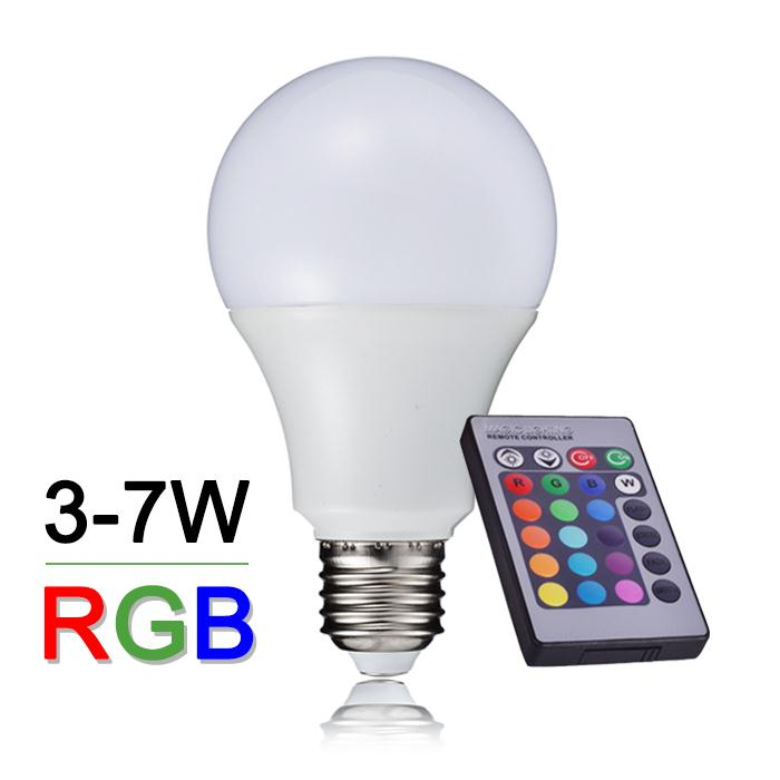 New Arrival RGB LED Bulb Light E27 3W 5W 7W Lamparas LED RGB Lamp 110V 220V With 24keys IR Remote Controller A65 A70 A80 agm rgb led bulb lamp night light 3w 10w e27 luminaria dimmer 16 colors changeable 24 keys remote for home holiday decoration